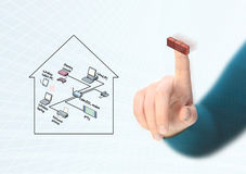 Completing network diagram. Completing home network diagram with firewall Stock Image