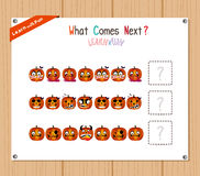 Completing the Pattern Educational Game for Preschool Children Royalty Free Stock Images