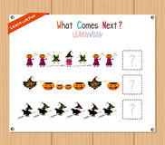 Completing the Pattern Educational Game for Preschool Children Stock Photos