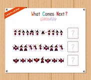 Completing the Pattern Educational Game for Preschool Children Stock Photo