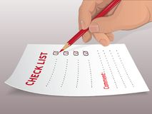 Completing the to-do list-01. A person marks in a checklist a red pencil made business. He puts a red tick. List for shopping. White sheet-template, to-do list Stock Image