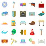 Completion of construction icons set, cartoon style. Completion of construction icons set. Cartoon set of 25 completion of construction vector icons for web Royalty Free Stock Image
