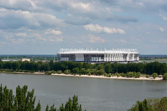 The completion of the stadium for the football championship in Rostov-on-Don.  Stock Photo