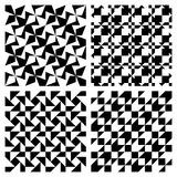 Complex Abstract Patterns. Four complex abstract repeat patterns in black and white, can be tiled seamlessly Royalty Free Stock Photo