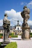 Complex of baroque hospital from 1692 with M.B. Braun statues, Kuks, East Bohemia, Czech Republic. CZECH REPUBLIC, KUKS - JUN 18, 2007: complex of baroque Royalty Free Stock Photo