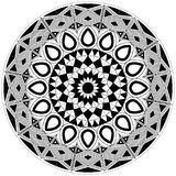 Complex blank and white mandala design with basic shapes Stock Photo