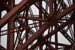 Complex Bridge metal structure. Stock Photo