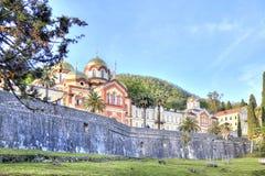 Abkhazia. New Athos Simon the Zealot Monastery. Complex of buildings of the ancient Christian monastery on Mount Athos Stock Photo