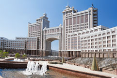 Complex of buildings on the National Corporation KazMunaiGas Round Square in Astana Stock Image