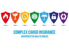 Complex cargo insurance design concept. Cargo insurance design concept with wall of shields that symbolizes protection for different  cargo problems: fragile Stock Photo