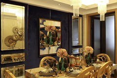 Complex colour collocation dining-room decorate Royalty Free Stock Photography
