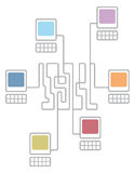Complex computer network connecting diagram Stock Photo