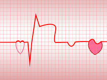 Complex of ECG. Acute myocardial infarction, illustration, vector, with the two symbols of the heart Stock Image