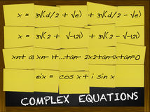 Complex Equation written on yellow notes. Covering a blackboard Stock Images