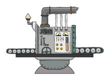 Complex fantastic machine. With gears, levers, pipes, meters, production line Royalty Free Stock Photography