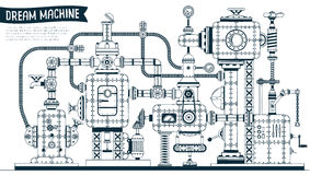 Complex fantastic steampunk machine. Or apparatus with many elements, pipes, wires, valves. Drawn in contours in the doodle style. Vector illustration stock illustration