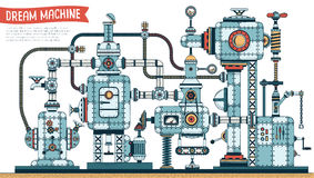 Complex fantastic. Steampunk machine - color version with shadows. Vector illustration. Brush for shadows included vector illustration