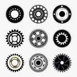 Complex Gear set. Set of gears isolated on white background Stock Photography