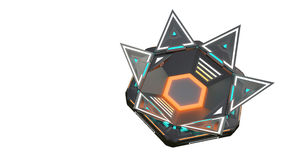 Complex glowing container object from the future. Many parts in complicated interactions. Illustration of the object of Royalty Free Stock Photography