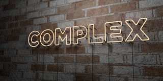 COMPLEX - Glowing Neon Sign on stonework wall - 3D rendered royalty free stock illustration Stock Images