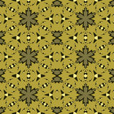 Complex golden pattern with stars stock image