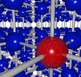 Complex Grid Stucture - One Red Ball. A complex grid structure with one red ball and many connections to its neighbors Royalty Free Stock Photography