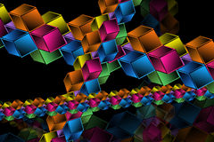 Complex hypercubes - Abstract geometrical background Royalty Free Stock Images
