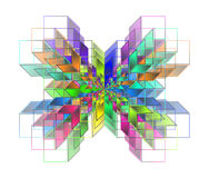 Complex hypercubes - Abstract geometrical background Royalty Free Stock Photos