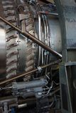 Complex inner workings of aircraft engine Stock Photography