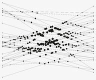 Complex intersecting lines. Group of intersecting lines with circles on crossings. Complex algorithmic composition. Geometric sketch. Modern abstract vector royalty free illustration