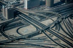 Complex Intersection aerial view stock images