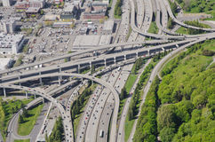 Complex Interstate Junction - Aerial View. Aerial view of a complex interchange during rush hour Stock Image