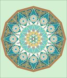 COMPLEX ISLAMIC GEOMETRICAL ORNAMENT IN A CIRCLE royalty free illustration
