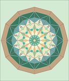 COMPLEX ISLAMIC GEOMETRICAL ORNAMENT IN A CIRCLE vector illustration