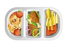 Complex lunch in plastic dish composed of fastfood. Onion rings with pickled tomatoes, fried chicken legs and french fries with ketchup isolated cartoon flat stock illustration