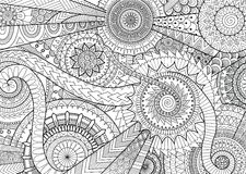 Complex mandala movement design for adult coloring book and background royalty free illustration