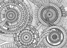 Complex mandala movement. Design for adult coloring book and background Stock Photography