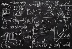 Complex Math, Arithmetic, Chalkboard Background. Chalkboard background of complex math, arithmetic, and statistics. Someone who is smart with brains can solve royalty free illustration