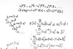 Complex math formulas on whiteboard. Mathematics and science with economics Stock Image