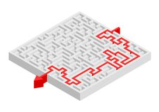 Complex Maze Solution. Complex maze puzzle with solution Royalty Free Stock Photos