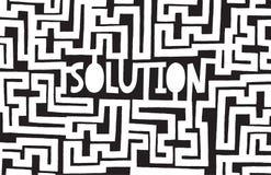 Complex maze to find a solution. Cartoon illustration of complex maze to find a solution Stock Images