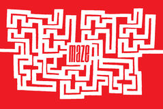 Complex maze with word on its center. Cartoon illustration of complex maze or labyrinth with word on its center Stock Photo