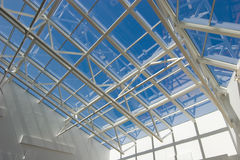 Complex modern roof. On blue sky Royalty Free Stock Photos
