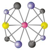 Complex molecule with CMYK coloured  atoms Stock Photos