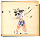 Complex motion of an golf player Stock Images