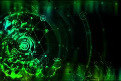 The complex network background with gears. Royalty Free Stock Photos