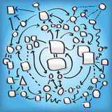 Complex Network Illustration. Schematic of the inter-workings of a complex network Royalty Free Illustration