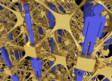 Complex networking structure with human figurines. Close up of complex networking structure with little figurines as people Stock Photos