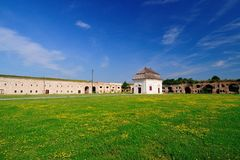 Complex of the old fortress with the Catholic chapel Stock Photos