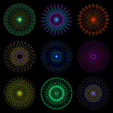 Complex patterns of the lines in the circle. Vector Illustration